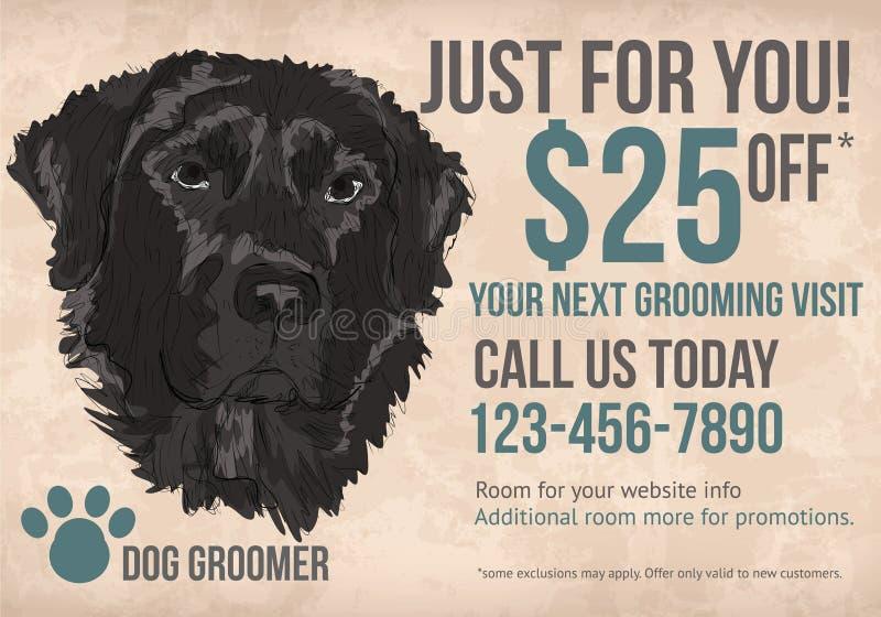 Dog groomer postcard template. Pet Dog groomer postcard with coupon discounts stock illustration