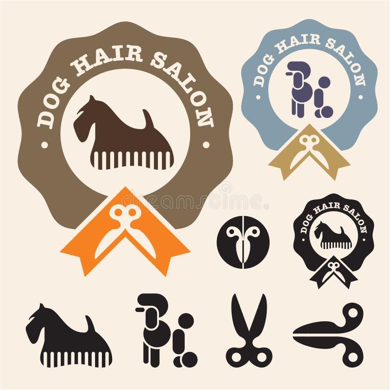 Dog hair salon. Poodle, Scottish Terrier vector icon set royalty free illustration