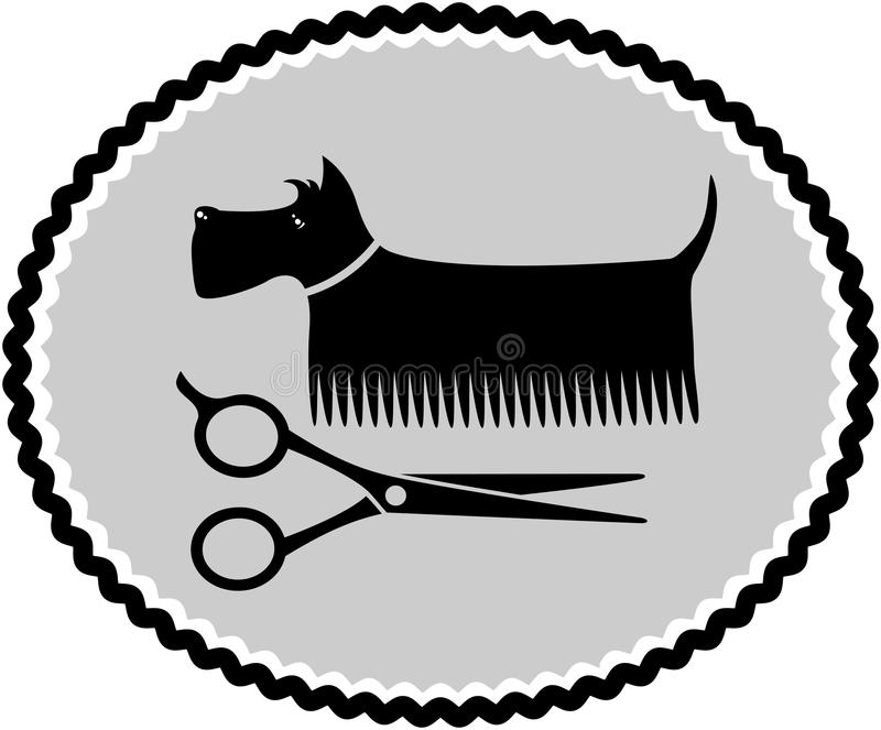 Dog haircut sign. With scissors and brush vector illustration