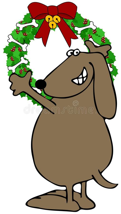 Download Dog Hanging A Christmas Wreath Stock Illustration - Illustration of animal, canine: 28190748