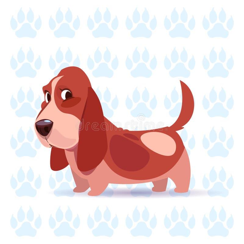 Dog Basset Hound Happy Cartoon Sitting Over Footprints Background Cute Pet royalty free illustration