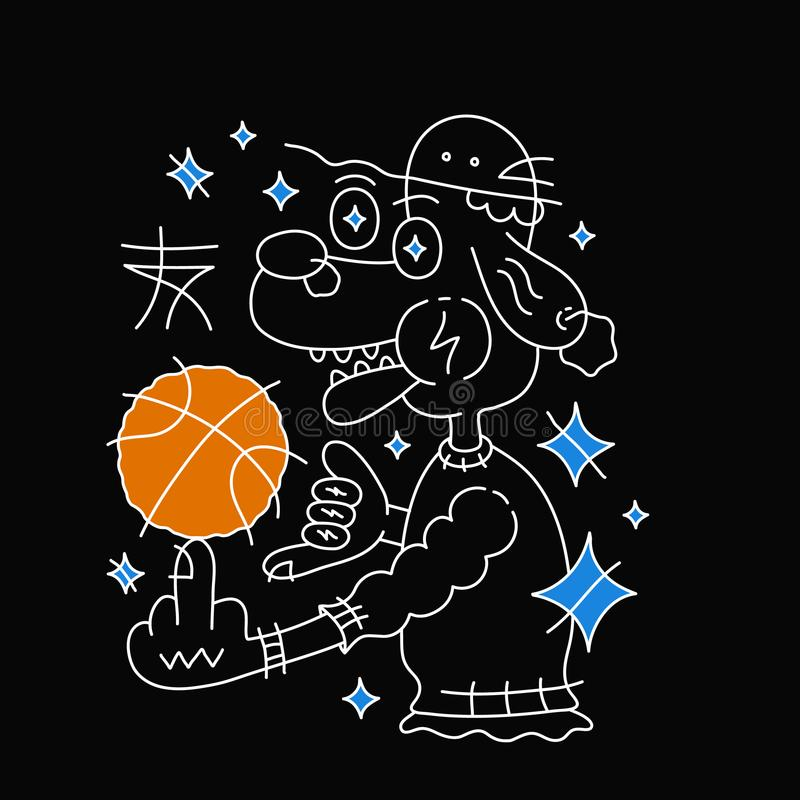 Dog in hat with basketball ball. Vector vector illustration