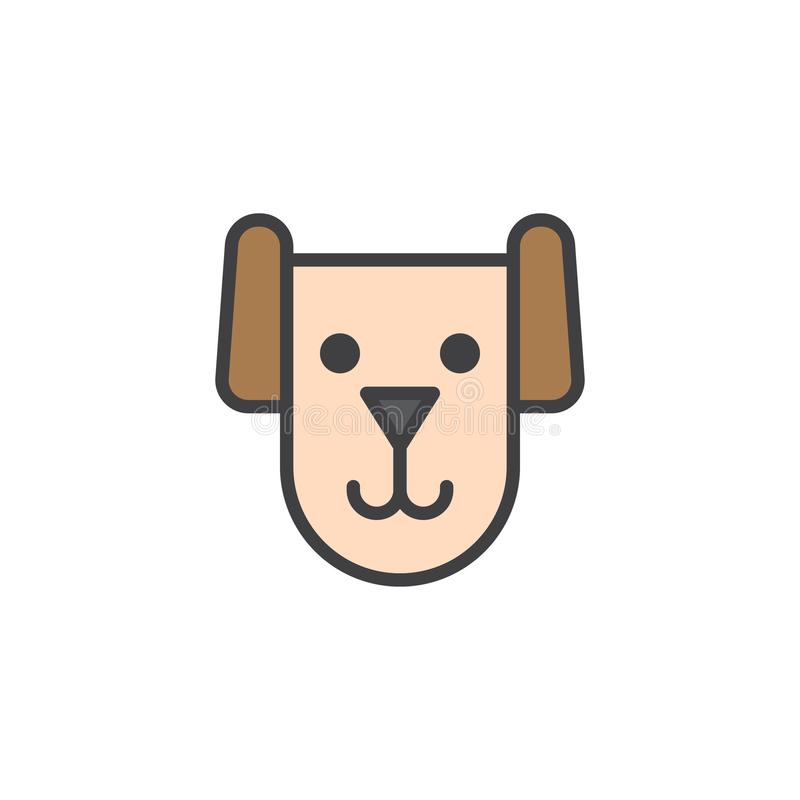 Dog head filled outline icon. Line vector sign, linear colorful pictogram isolated on white. Pet symbol, logo illustration. Pixel perfect vector graphics vector illustration