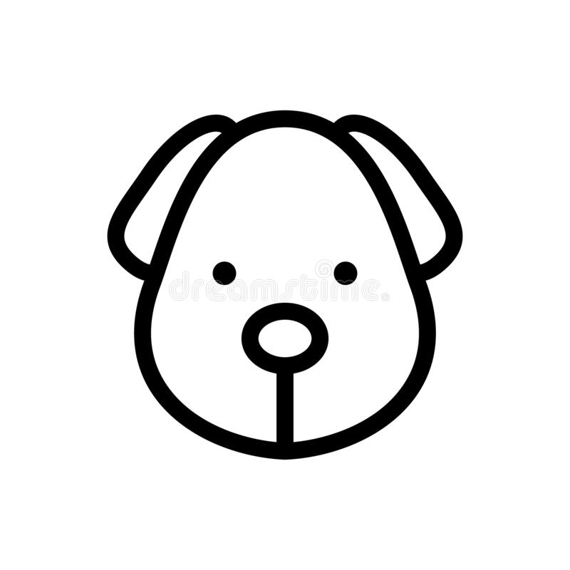 Dog head outline vector icon isolate on white background for graphic design, logo, web site, social media, mobile app, ui royalty free illustration