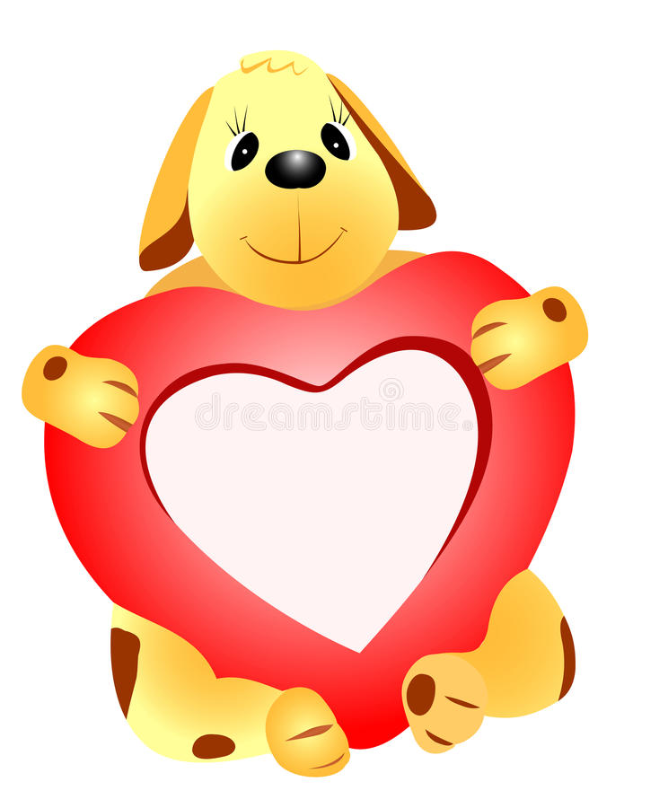 Dog with heart stock illustration
