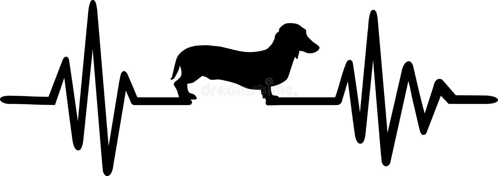 Dog heartbeat line with dachshund. Heartbeat pulse line dog with dachshund silhouette black royalty free illustration