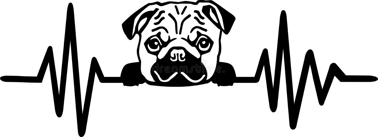 Dog heartbeat line with pug. Heartbeat pulse line dog with pug face black and white royalty free illustration