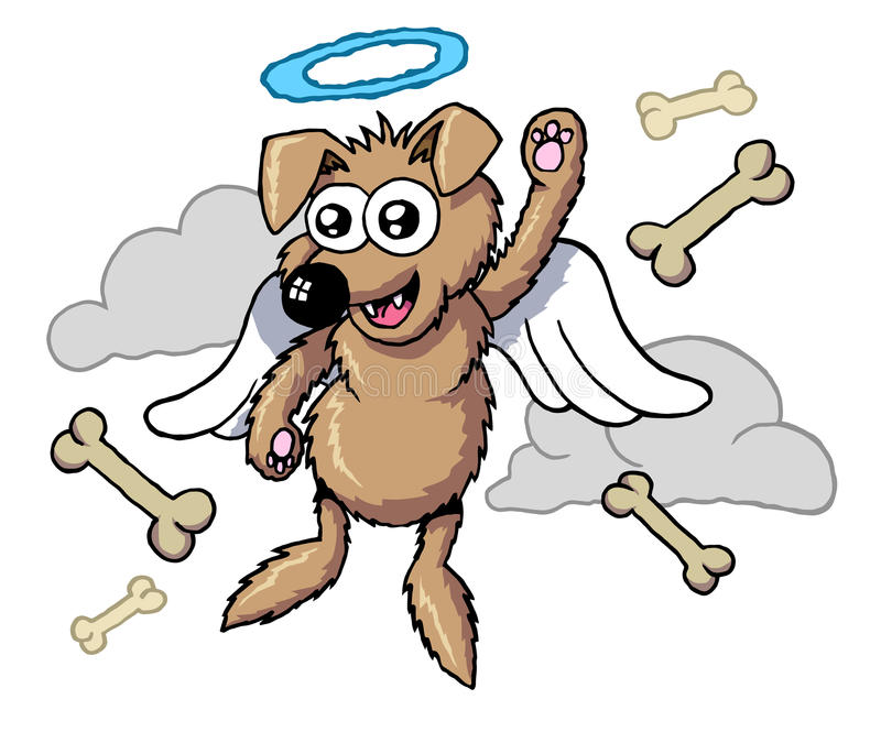 Dog heaven 2. Cartoon style dog go to sky or heaven stock illustration