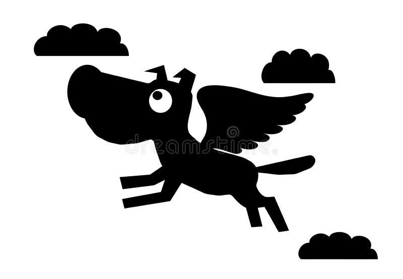 Dog heaven. Vector dog goto sky or heaven royalty free illustration
