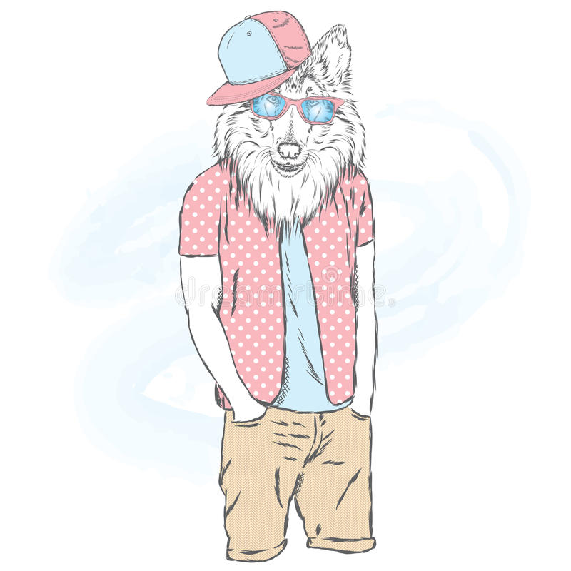 Dog Hipster In Summer Clothes. The Dog With The Human Body ...