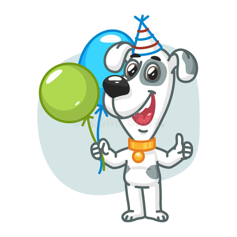 Dog Holding Balloons and Smiling. Vector Illustration, Dog Holding Balloons and Smiling, Format EPS 8 royalty free illustration