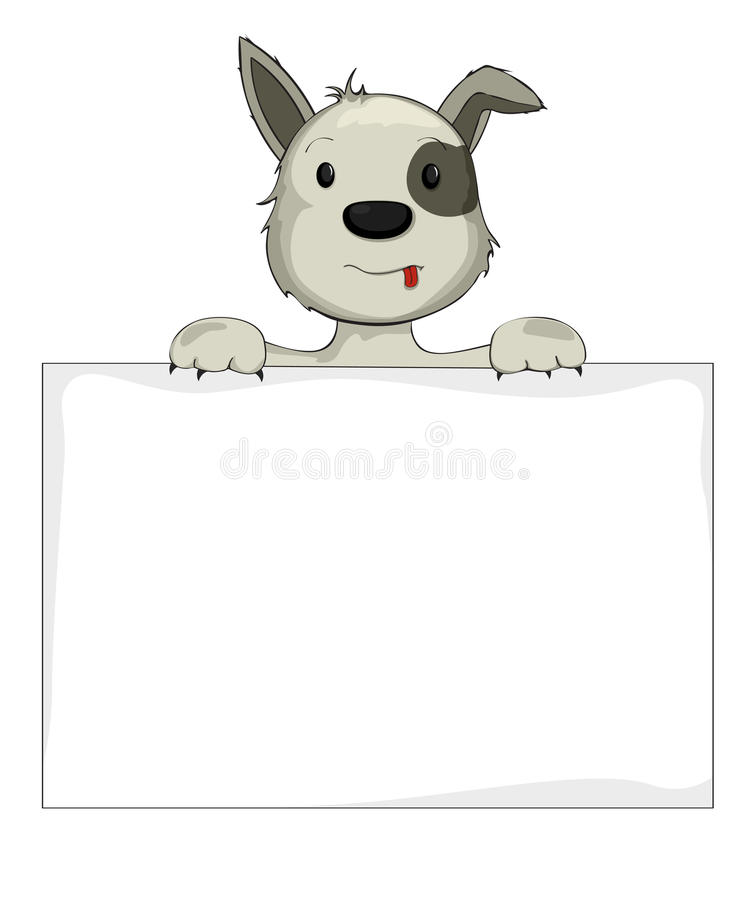 Dog Holding Banner Royalty Free Stock Images