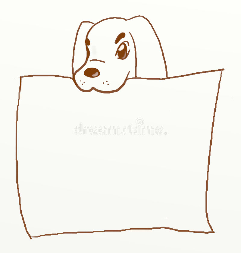 Dog holding blank poster stock photo