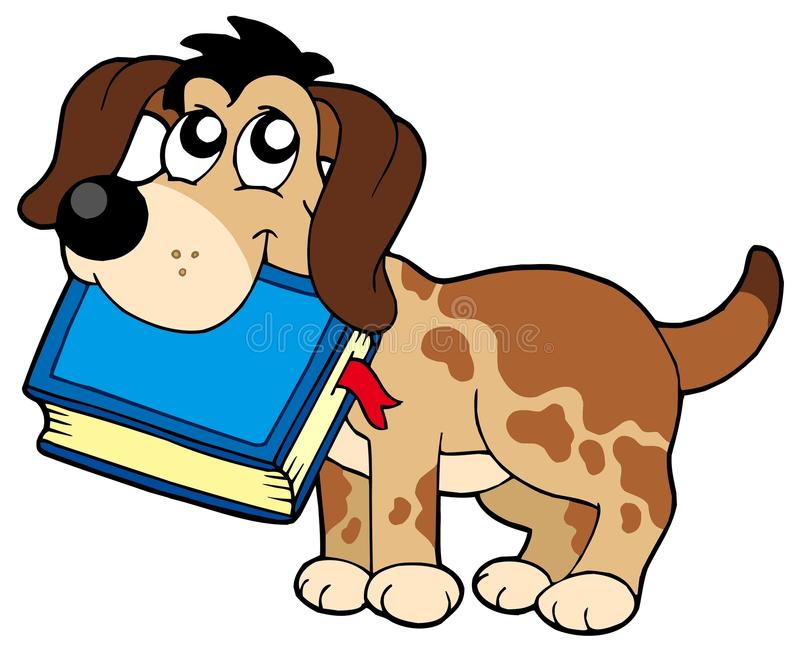 Dog holding book stock illustration