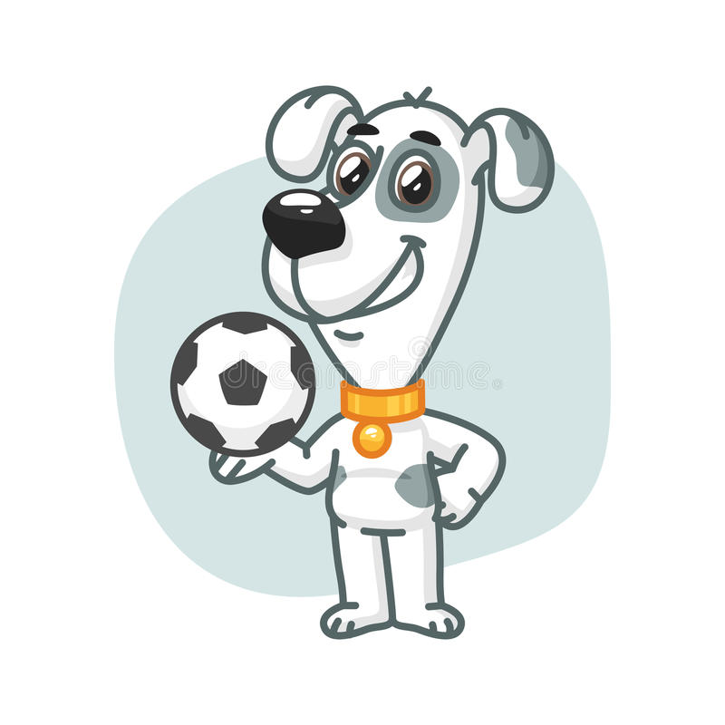 Dog Holding Football Ball and Smiling. Vector Illustration, Dog Holding Football Ball and Smiling, Format EPS 8 vector illustration