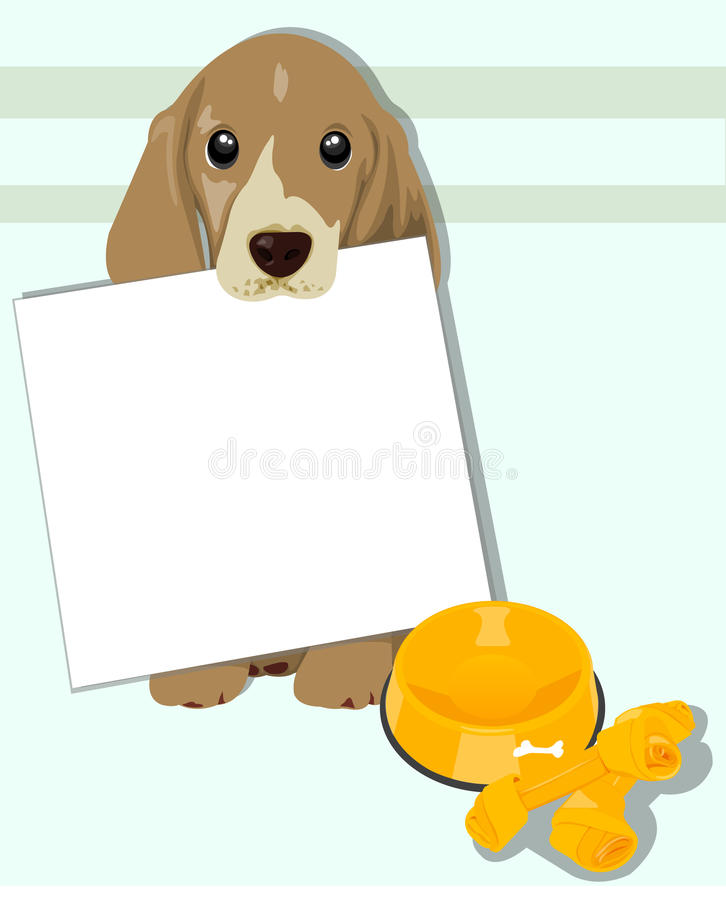Dog holding sign vector illustration