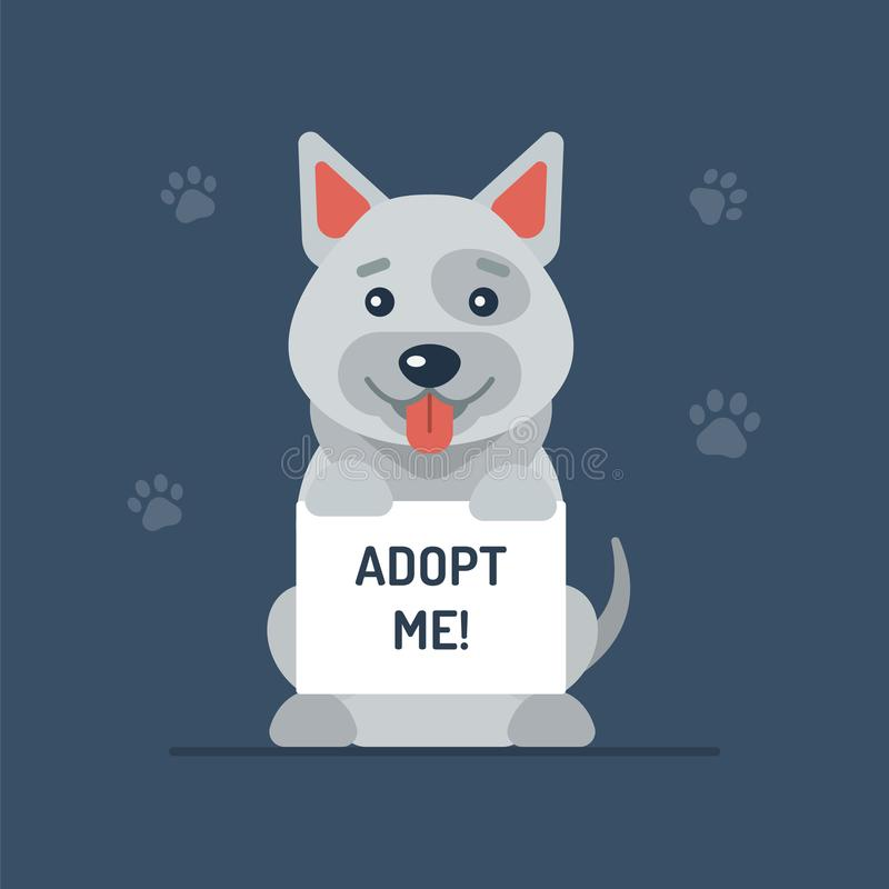 Dog holding up a board. A cute dog holding up a board with the words Adopt Me. Flat design. Vector illustration royalty free illustration
