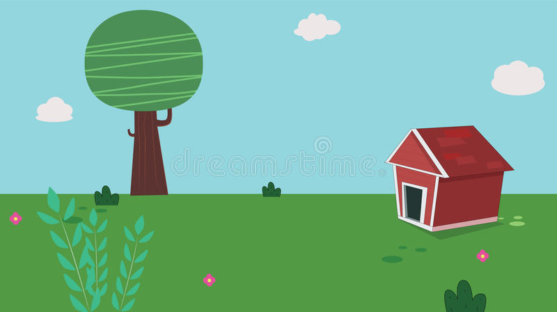 Dog home in garden with sky stock illustration