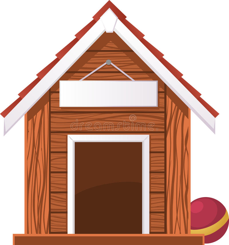 Dog House with Blank Banner stock illustration