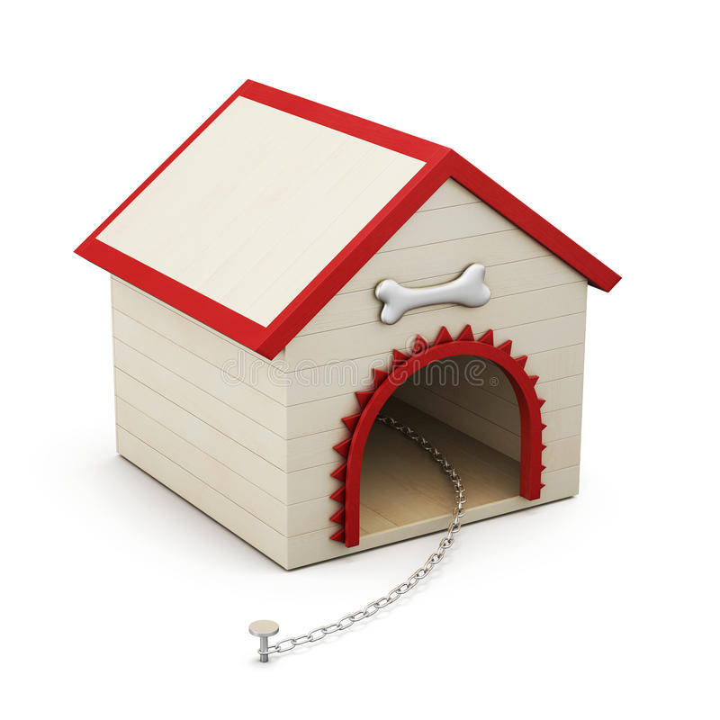 Dog house with chain on white background. 3d rendering stock illustration