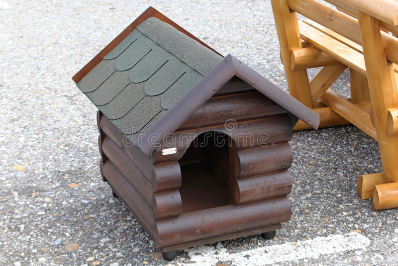 Dog house. New dog house made from log wood royalty free stock image