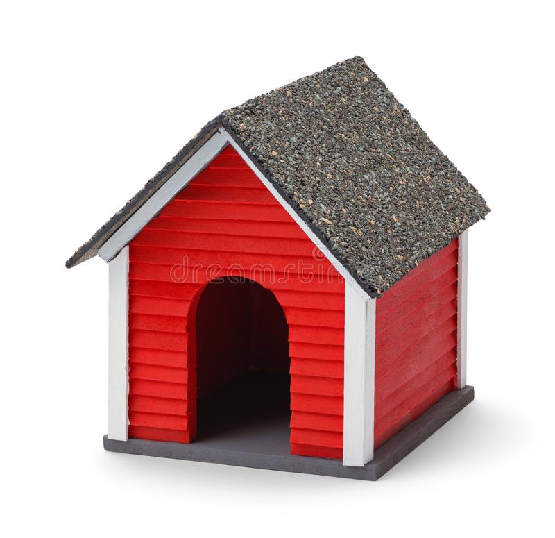 Dog House. Red Dog House Front Isolated on White Background royalty free stock photography