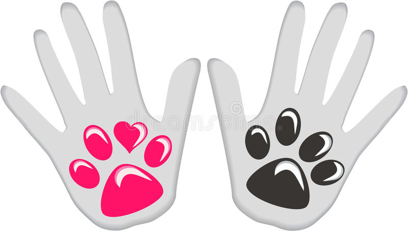Dog Human love friendship. Hand and dog paw pink and black vector illustration