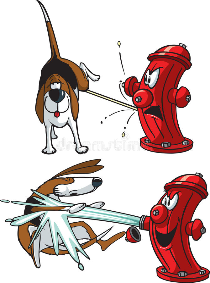 Dog and Hydrant. A cartoon of a dog peeing on a hydrant . Vector and high resolution jpeg files available royalty free illustration