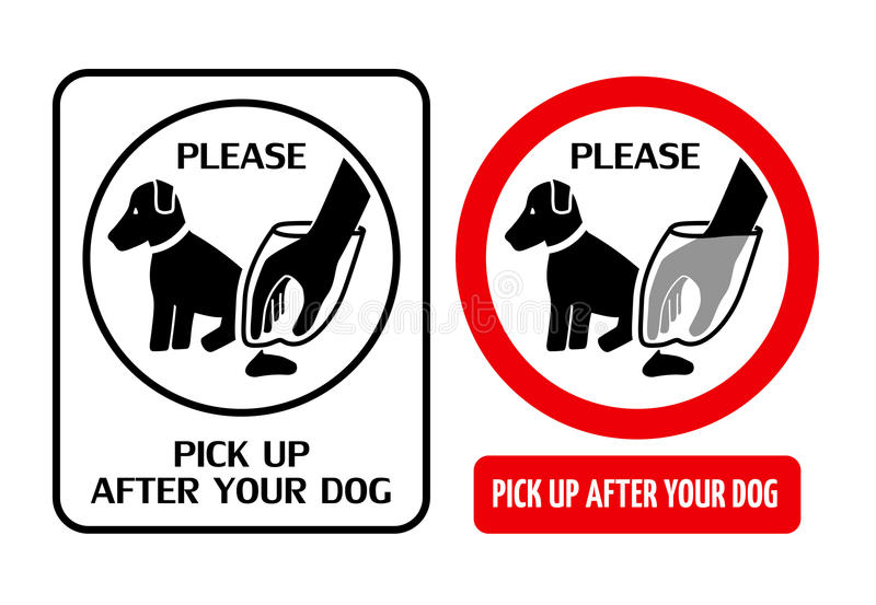 Clean up after dog. Two signs telling dog owners to pick up after your dog royalty free illustration