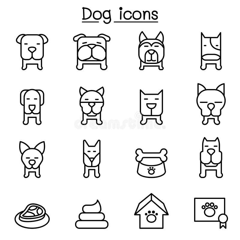 Dog icon set in thin line style stock illustration