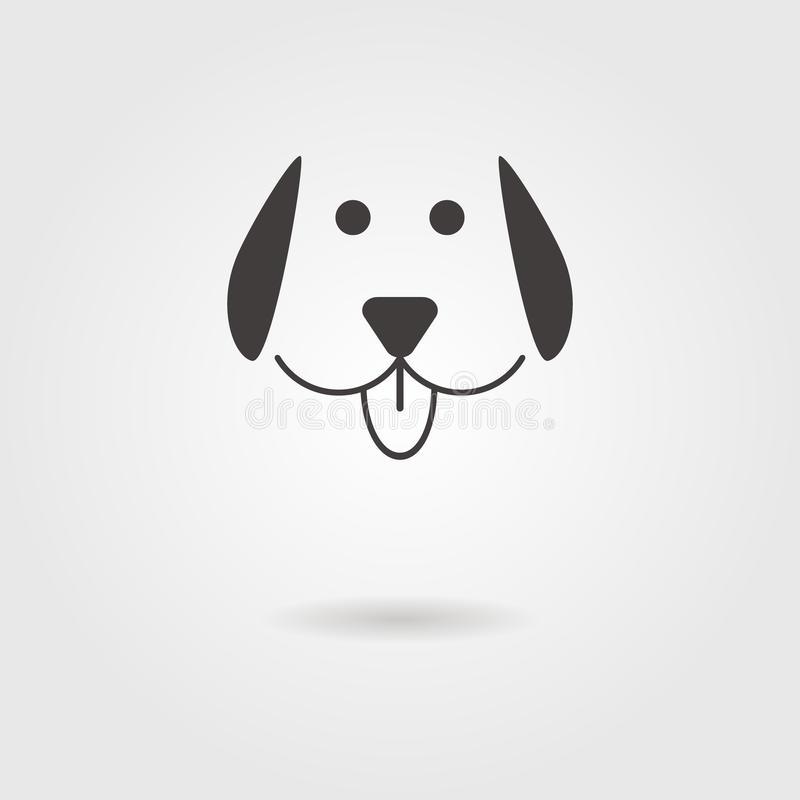 Dog icon with shadow. Logo design vector illustration royalty free illustration