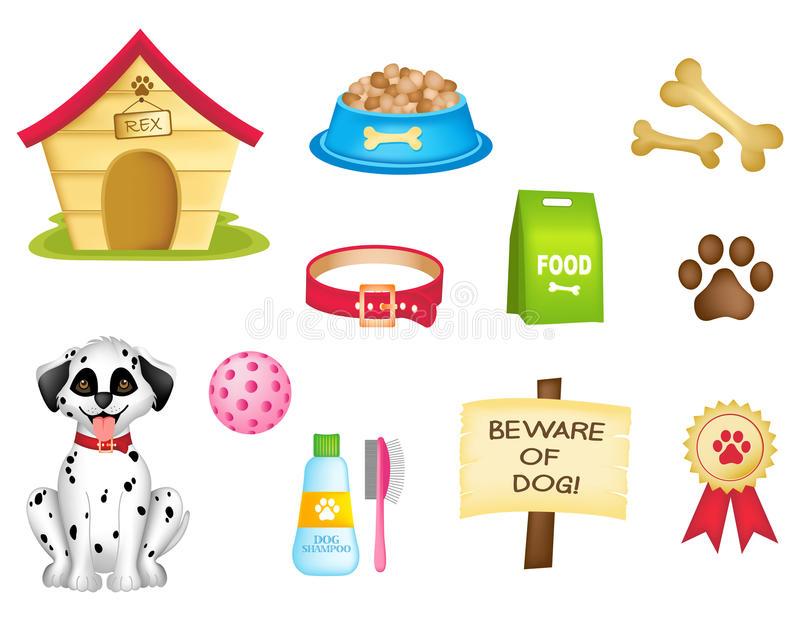 Dog icons / clipart collection. Dog and dogs stuff colorful clipart isolated on white background