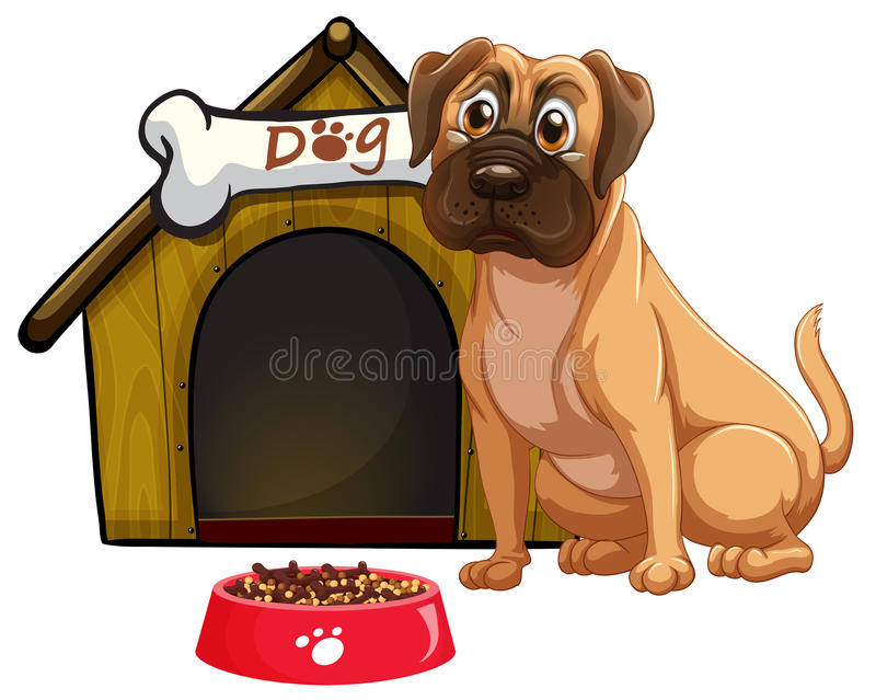 Dog. Illustration of a dog and a doghouse stock illustration