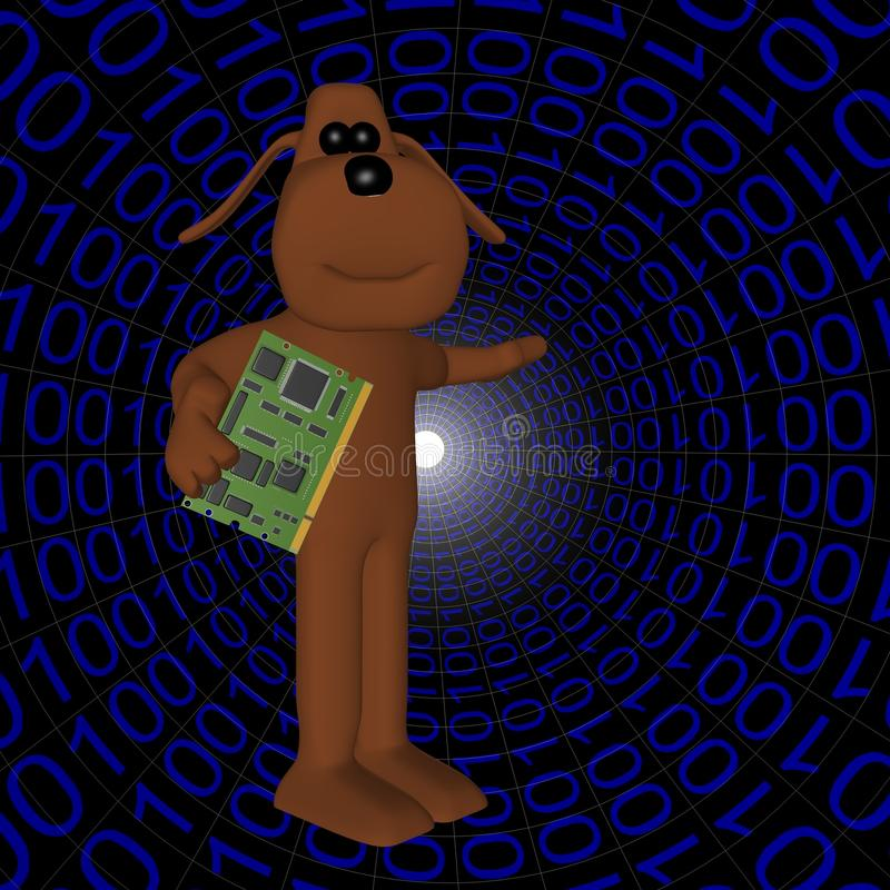 Free Dog In Binary Form With Your Computer Stock Photos - 13769593