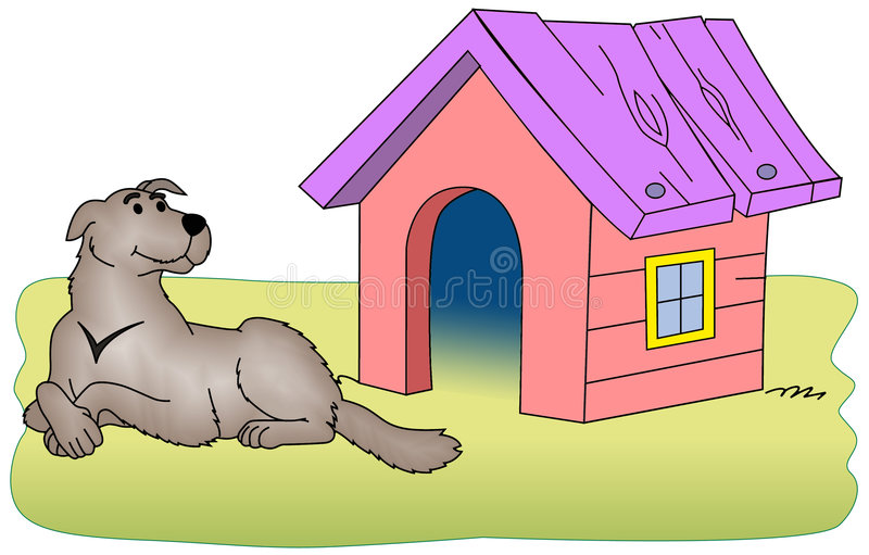 Download Dog beside the kennel stock illustration. Image of bone - 8338344