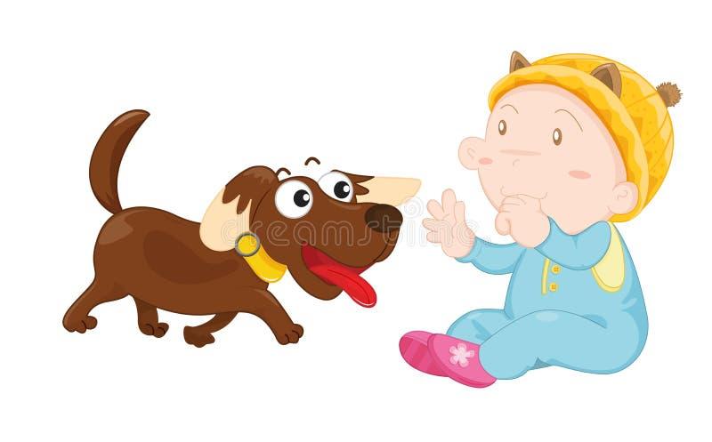 Dog and kid royalty free illustration