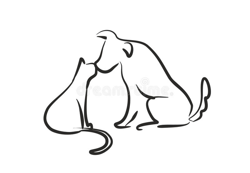 Dog Kiss Cat vector illustration