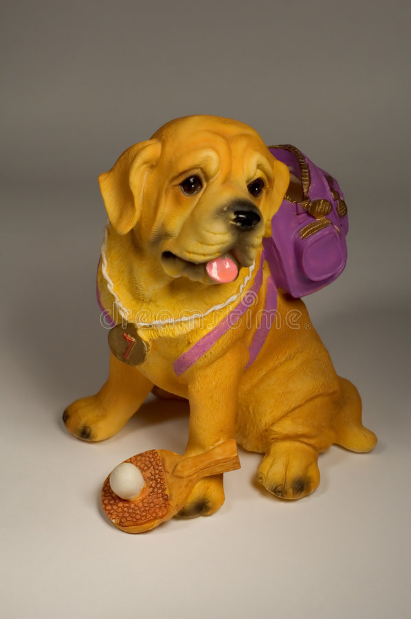 Dog with knapsack. Series: isolated on Grey: Dog with knapsack royalty free stock photos