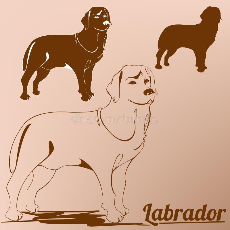 download dog labrador retriever silhouette outline stock vector image 69990766