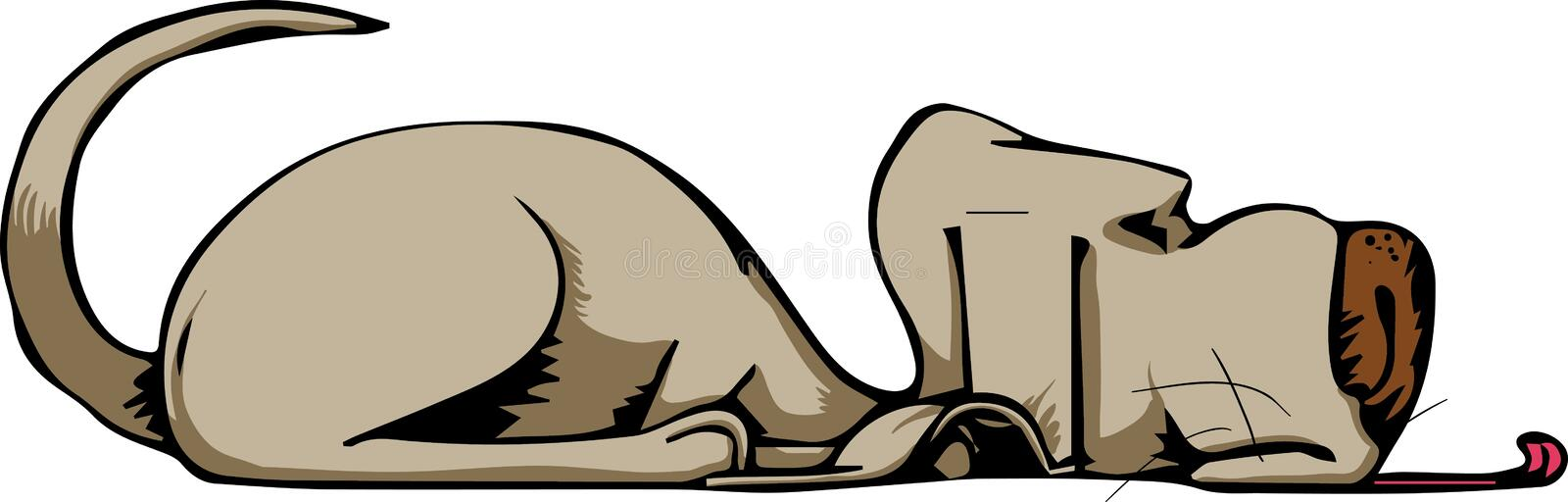 Dog laying down. This is an illustration of a super cool dog with a big tongue laying down royalty free illustration