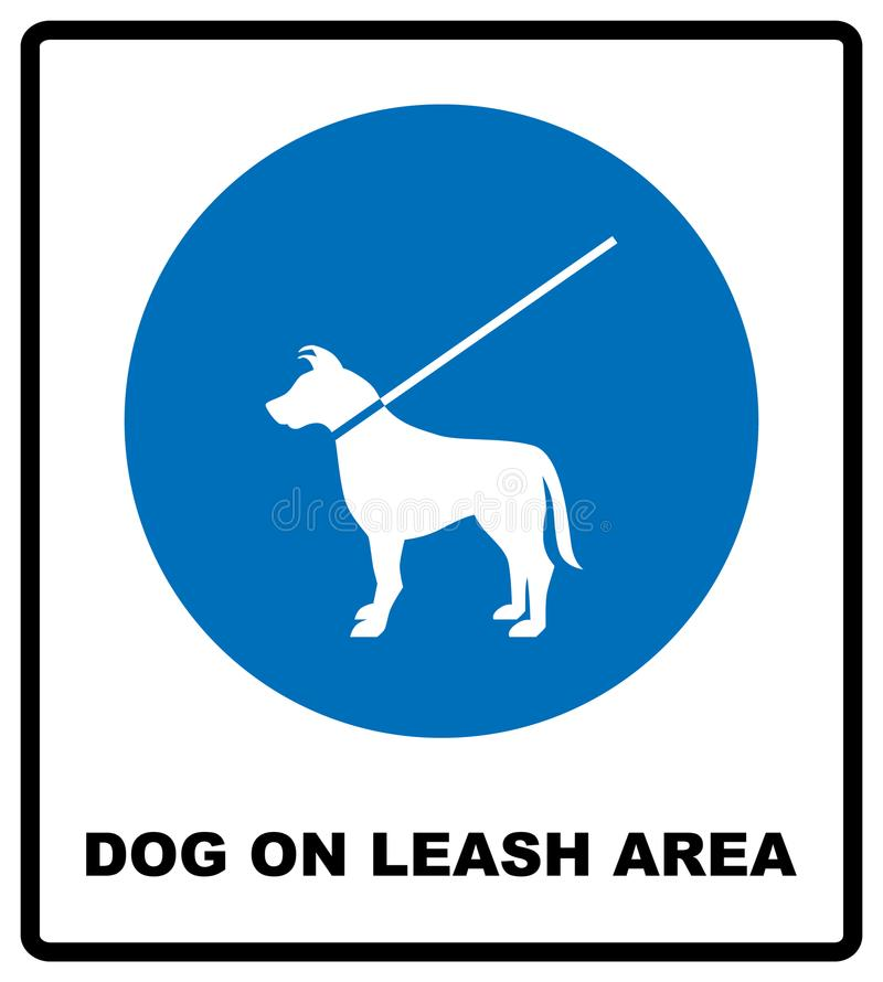 Dog on leash area icon. Dogs allowed sign. Vector illustration isolated on white. Blue mandatory symbol with white pictogram and t stock illustration