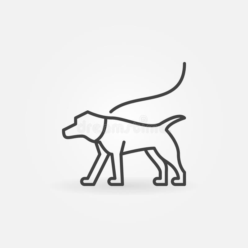 Dog on a leash vector minimal icon royalty free illustration