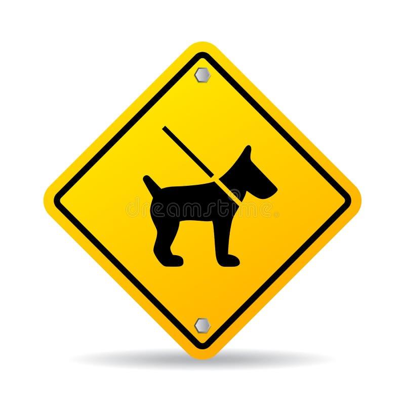 Dog on leash vector sign stock illustration