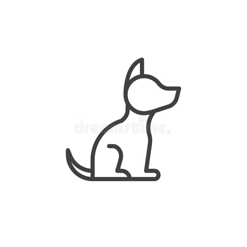 Dog line icon. Outline vector sign, linear style pictogram isolated on white. Symbol, logo illustration. Editable stroke stock illustration