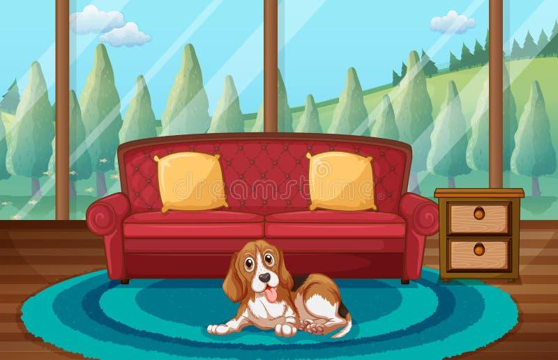 Dog and living room. Illustration of a dog sitting in a living room vector illustration