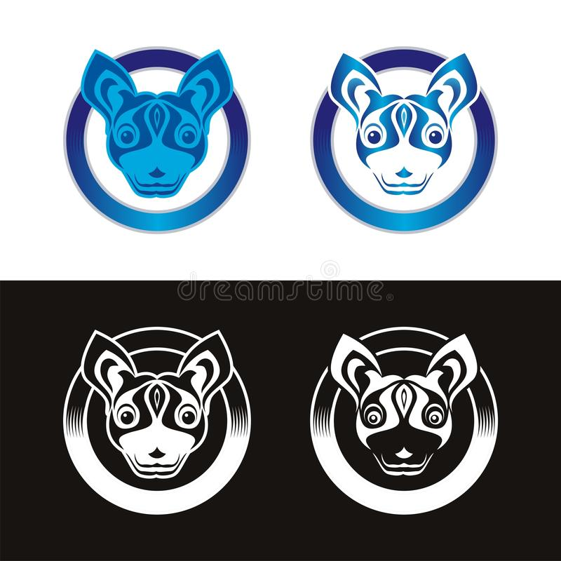 Dog Logo with ribbon and circle design royalty free stock images