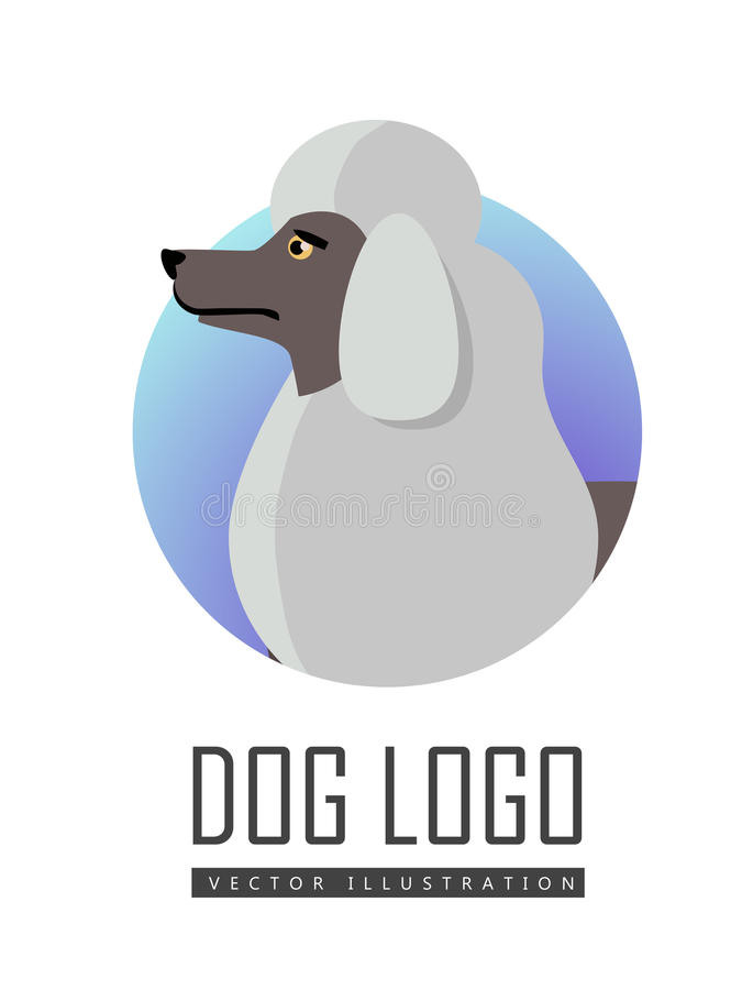 Dog Logo Vector of White Standard Poodle Isolated. Dog logo vector illustration of white standard Poodle isolated. Single layer coat no undercoat is present royalty free illustration