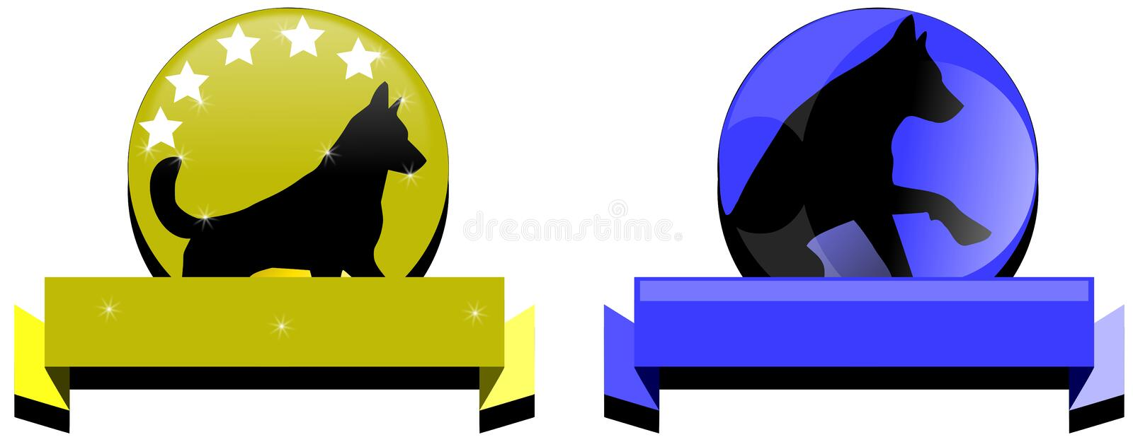 Dog logos. Illustration representing two ideas for dog logos stock illustration