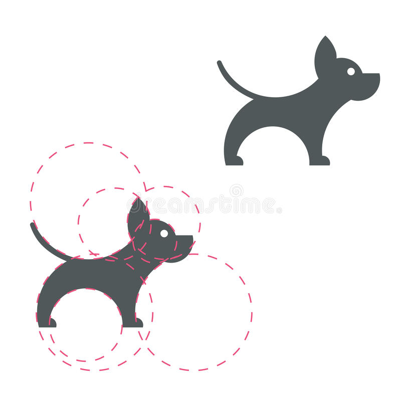 Dog logotype. Simple icon. Golden ratio. Vector illustration. Li. Ght background. Eps10 royalty free illustration