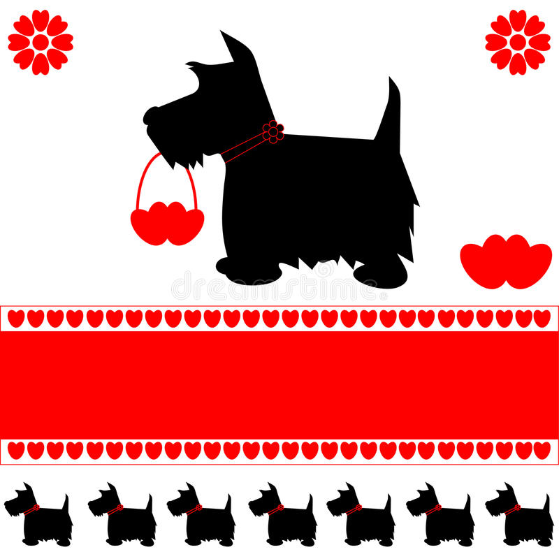 Dog love hearts card. Scottie dog silhouette love hearts greeting card, ideal for Valentine's day, with space for copy, vector vector illustration